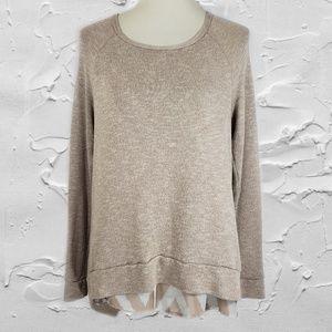 Bar III Tan Layered Chevron Print Sweater Sz M